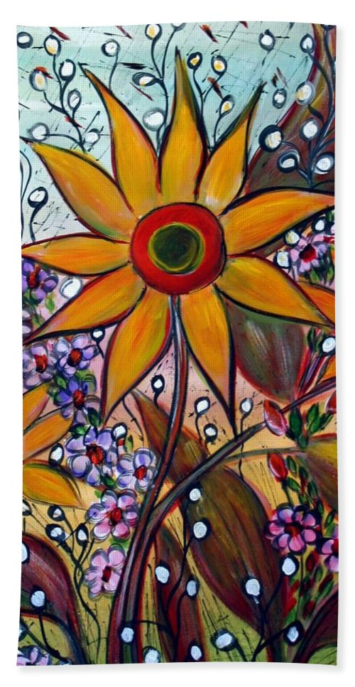 Flowers Hand Towel featuring the painting Sunflowers by Luiza Vizoli