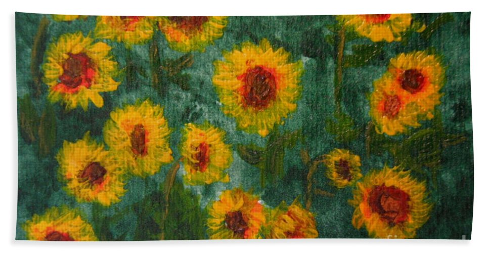 Acrylic Bath Sheet featuring the painting Sunflowers by Lynne Reichhart