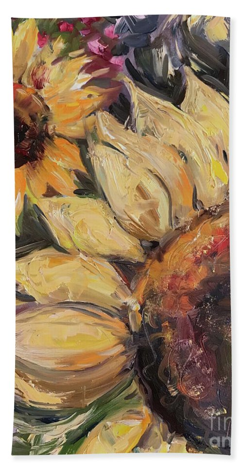 Sunflower Bath Towel featuring the painting Sunflowers by Maria Reichert
