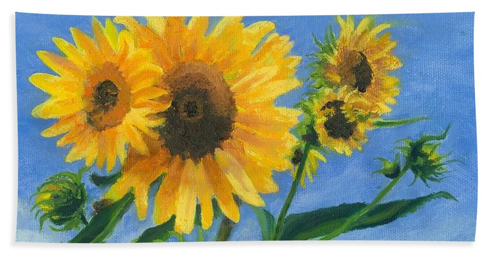 Flowers Bath Towel featuring the painting Sunflowers On Bauer Farm by Paula Emery
