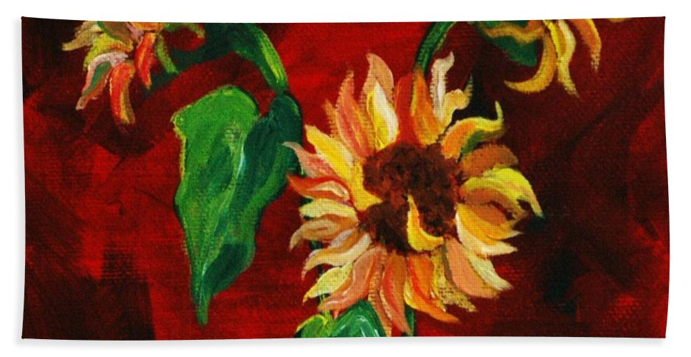 Flowers Hand Towel featuring the painting Sunflowers On Rojo by Melinda Etzold