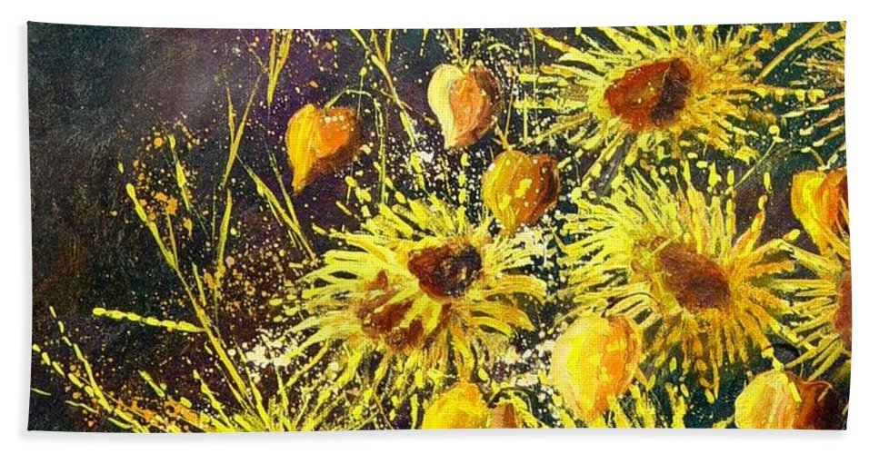 Flowers Hand Towel featuring the painting Sunflowers by Pol Ledent