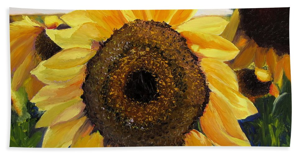 Sunflower Hand Towel featuring the painting Sunflowers Squared by Lea Novak