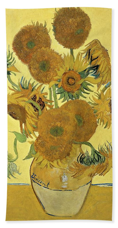 Sunflowers Bath Towel featuring the painting Sunflowers, 1888 by Vincent Van Gogh