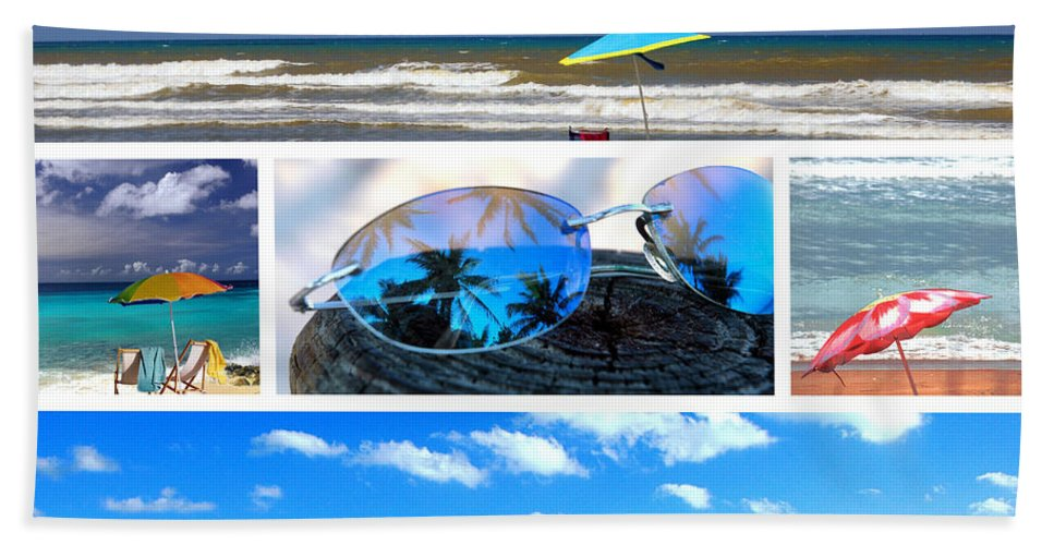 Beache Scene Bath Sheet featuring the photograph Sunglasses Needed In Paradise by Susanne Van Hulst
