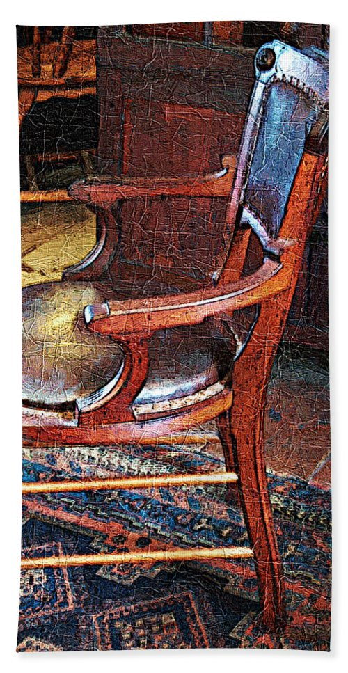 Antiques Bath Towel featuring the digital art Sunlight On Leather Chair by RC DeWinter