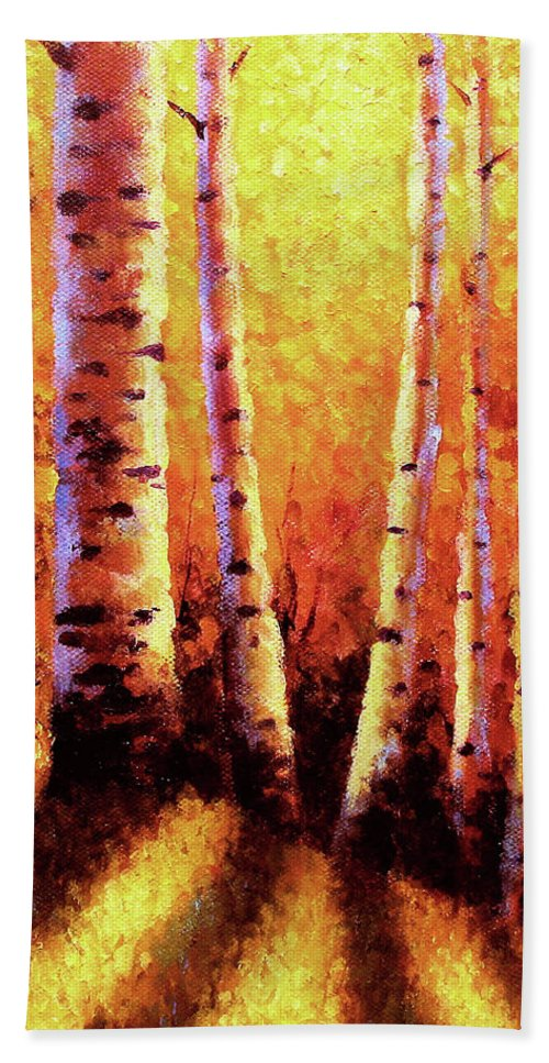 Sunlight Hand Towel featuring the painting Sunlight Through The Aspens by David G Paul