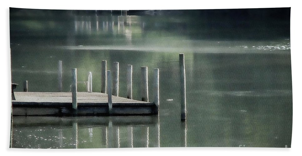 Dock Hand Towel featuring the photograph Sunlit Dock by Todd Blanchard