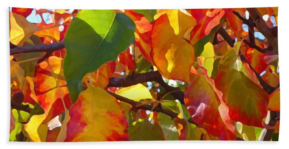 Fall Leaves Bath Sheet featuring the photograph Sunlit Fall Leaves by Amy Vangsgard