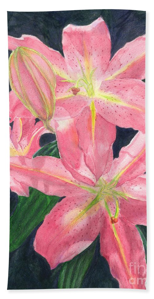 Floral Bath Towel featuring the painting Sunlit Lilies by Lynn Quinn