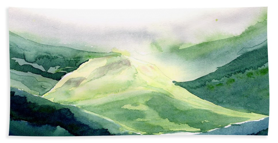 Landscape Bath Towel featuring the painting Sunlit Mountain by Anil Nene