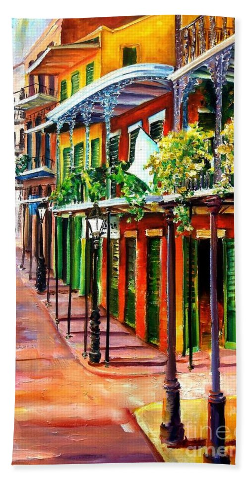 New Orleans Hand Towel featuring the painting Sunlit New Orleans by Diane Millsap