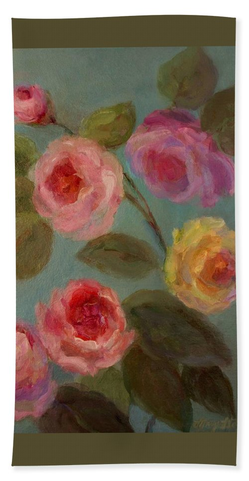 Floral Painting Bath Sheet featuring the painting Sunlit Roses by Mary Wolf