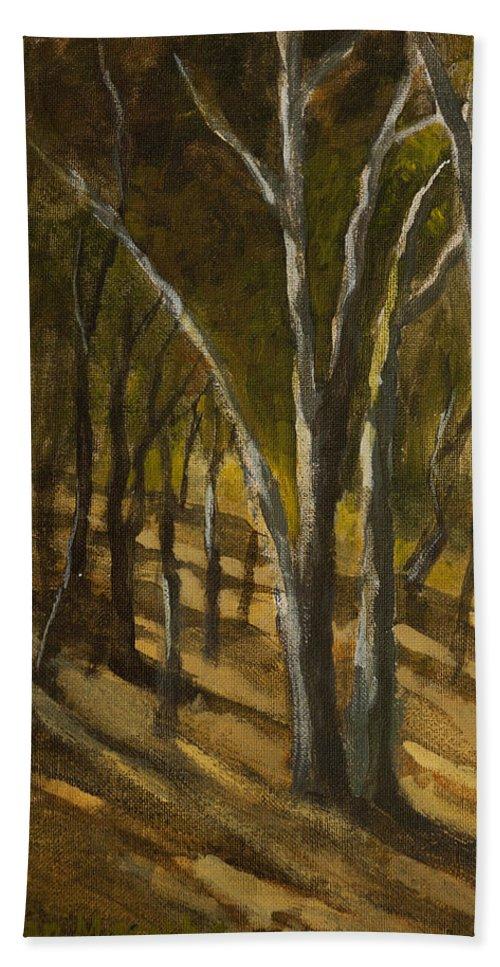 Landscape Bath Sheet featuring the painting Sunlit Slopes by Mandar Marathe