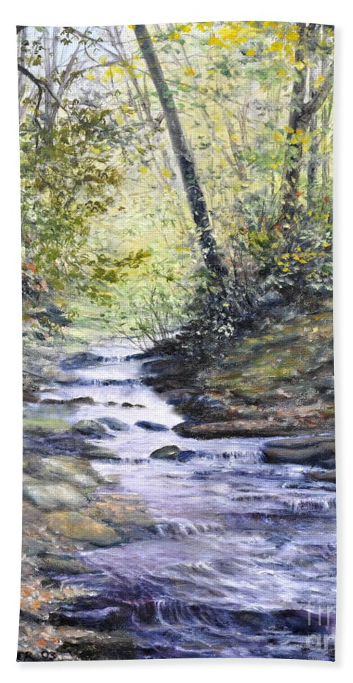 Nature Hand Towel featuring the painting Sunlit Stream by Penny Neimiller