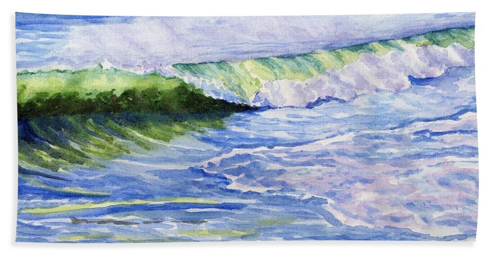 Seascape Bath Towel featuring the painting Sunlit Surf by Sharon E Allen
