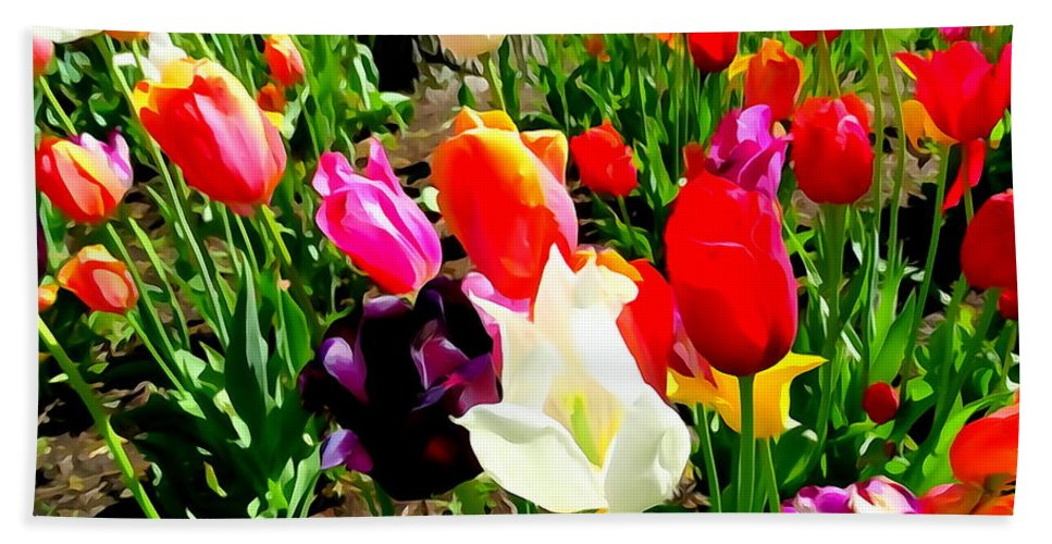 Digital Art Bath Sheet featuring the digital art Sunlit Tulips by Ed Weidman