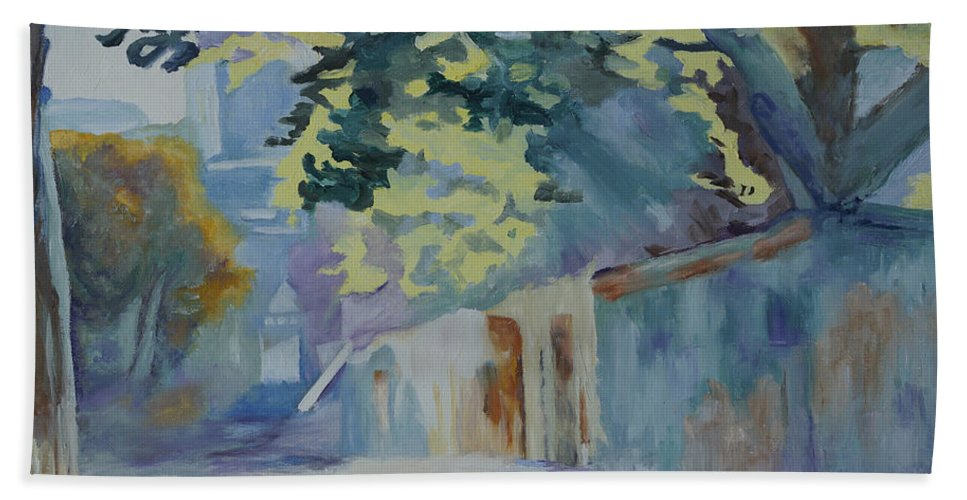 Back Road Bath Sheet featuring the painting Sunlit Wall Under A Tree by Kathy Przepadlo