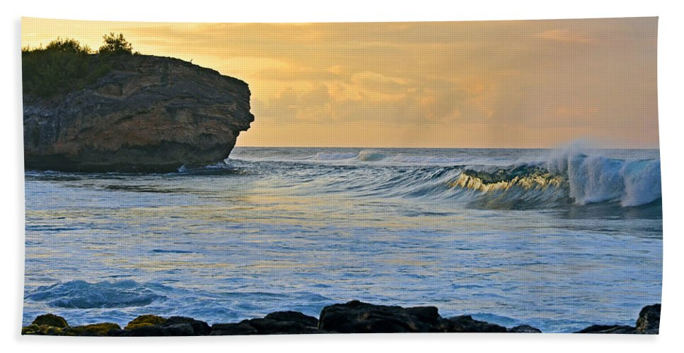 Hawaii Bath Sheet featuring the photograph Sunlit Waves - Kauai Dawn by Marie Hicks