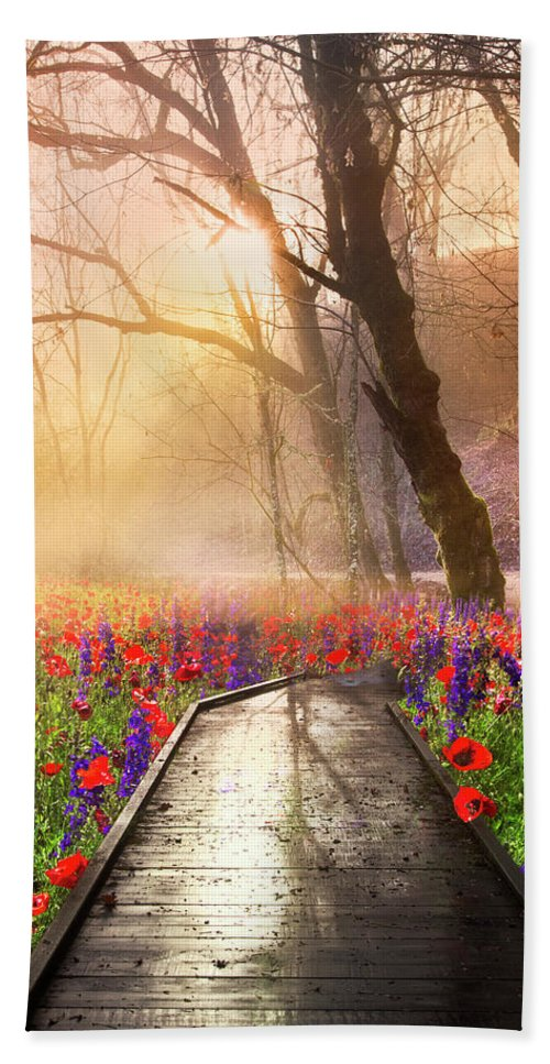 Appalachia Hand Towel featuring the photograph Sunlit Wildflowers by Debra and Dave Vanderlaan
