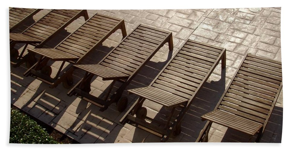 Swimming Pool Bath Sheet featuring the photograph Sunning Chairs by Deborah Crew-Johnson