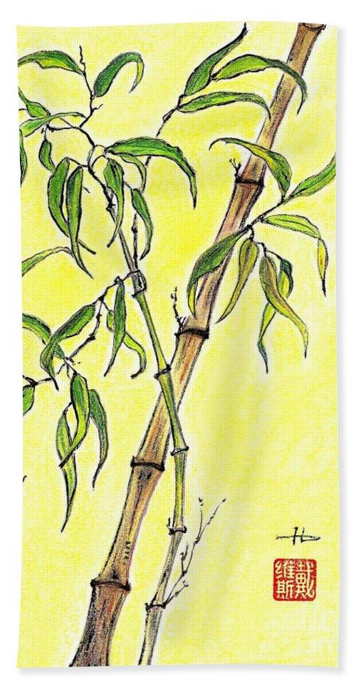 Sunny. Bamboo Hand Towel featuring the mixed media Sunny Bamboo by Irina Davis