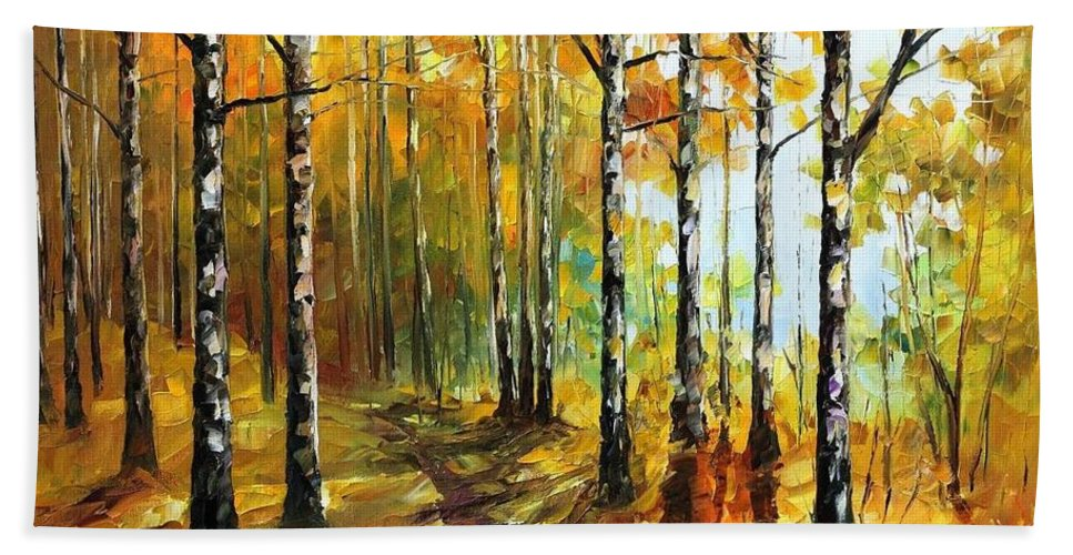 Afremov Bath Sheet featuring the painting Sunny Birches by Leonid Afremov