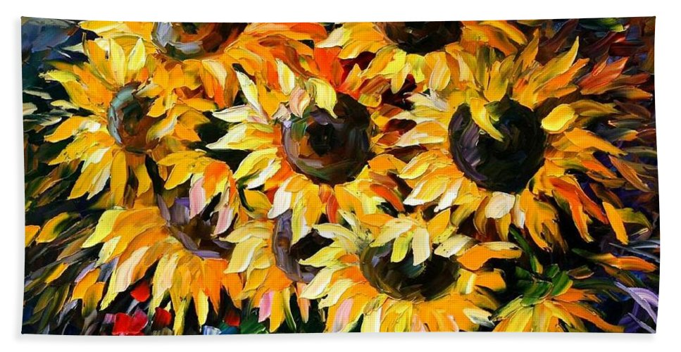 Floral Bath Towel featuring the painting Sunny Bouquet by Leonid Afremov