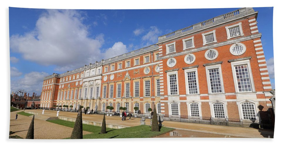Sunny Day At Hampton Court Palace London Bath Sheet featuring the photograph Sunny Morning At Hampton Court Palace London by Julia Gavin