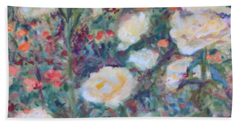 Quin Sweetman Hand Towel featuring the painting Sunny Day At The Rose Garden by Quin Sweetman