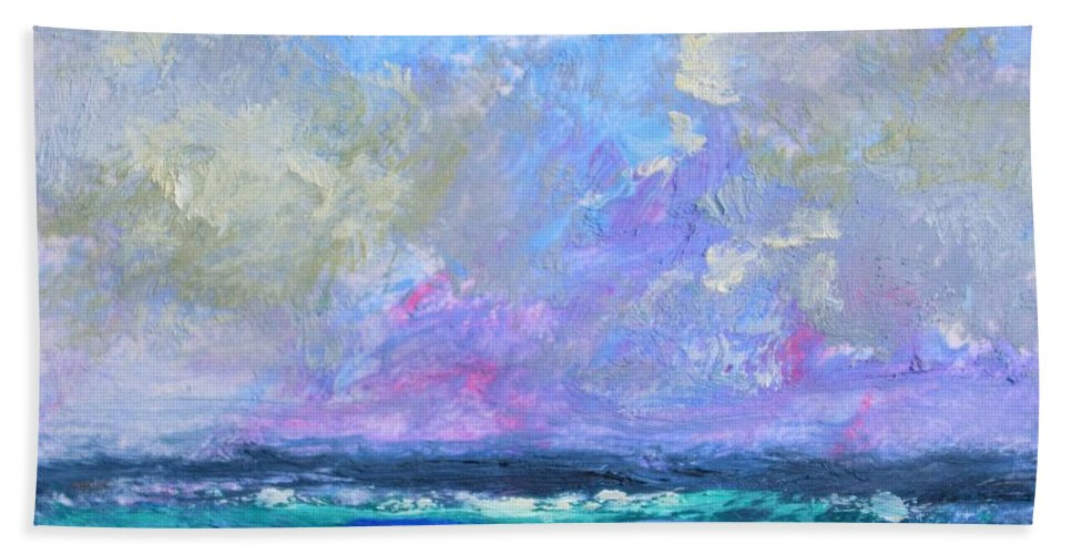 Sunny Day At The Sea Bath Sheet featuring the painting Sunny Day At The Sea by Philip Jones