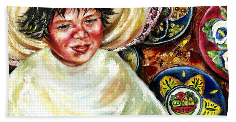 Child Bath Sheet featuring the painting Sunny Day by Hiroko Sakai