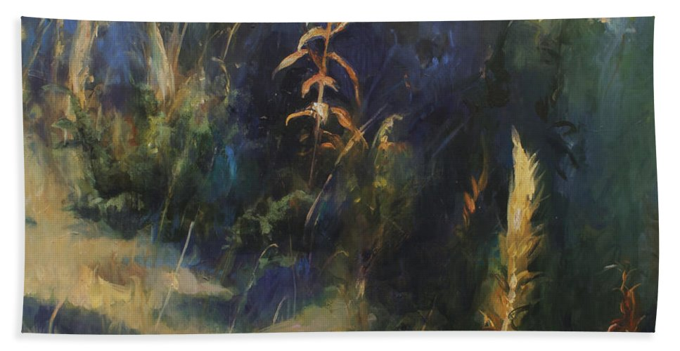 Lin Petershagen Bath Towel featuring the painting Sunny Day by Lin Petershagen