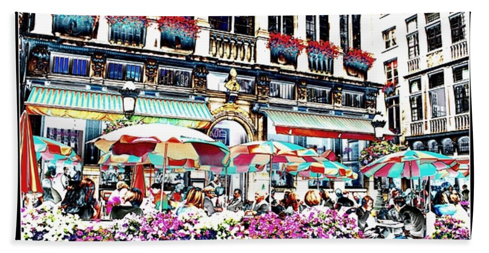 Brussels Hand Towel featuring the photograph Sunny Day On The Grand Place by Carol Groenen