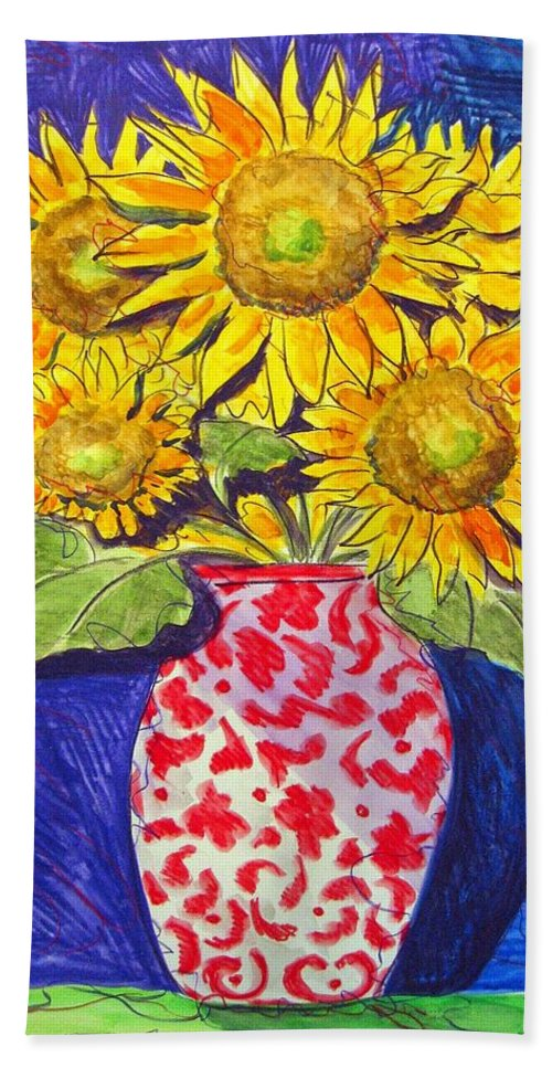 Sunflower Bath Towel featuring the painting Sunny Disposition by Jean Blackmer
