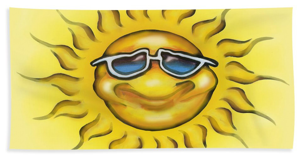 Sun Hand Towel featuring the painting Sunny by Kevin Middleton
