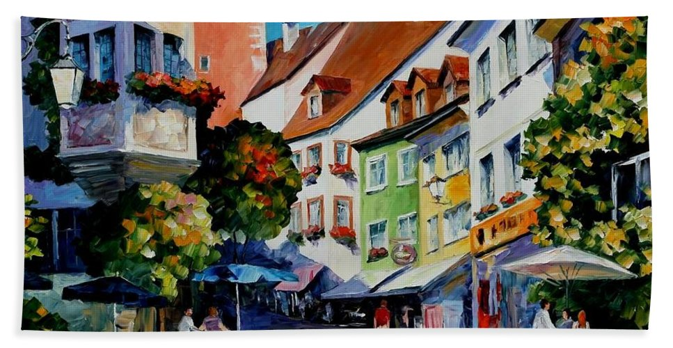 Afremov Bath Sheet featuring the painting Sunny Meersburg - Germany by Leonid Afremov