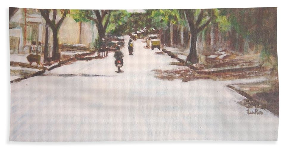 Sun Bath Sheet featuring the painting Sunny Road by Usha Shantharam