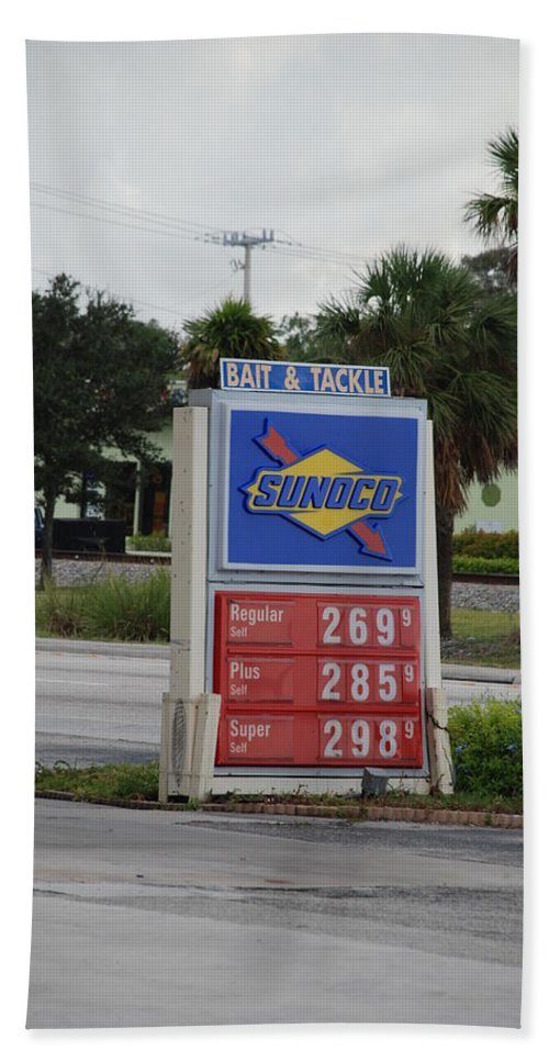 Gas Station Bath Towel featuring the photograph Sunoco Bait And Tackle by Rob Hans