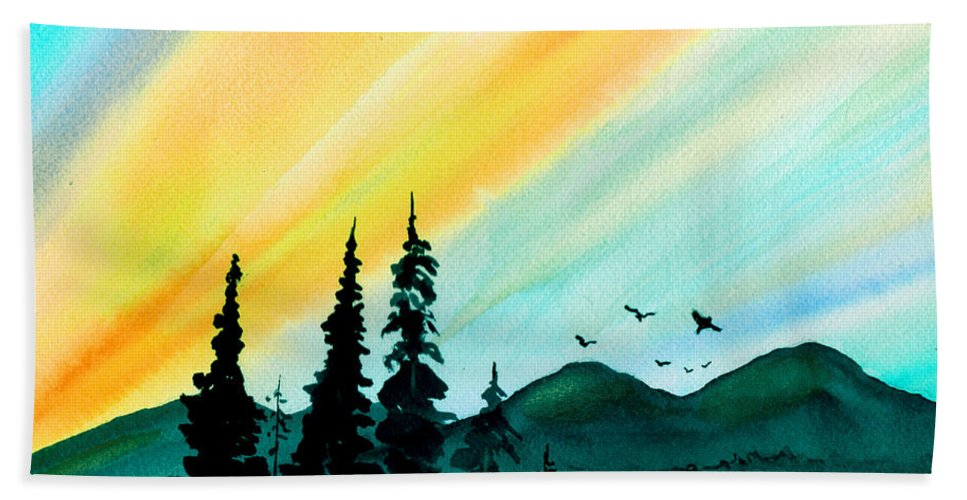 Landscape Bath Sheet featuring the painting Sunrays by Brenda Owen