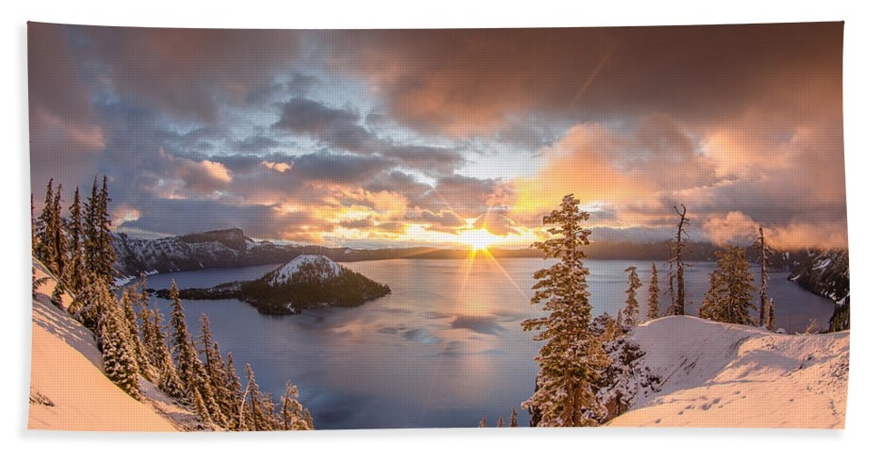 Cascades Hand Towel featuring the photograph Sunrise After Summer Snowfall by Greg Nyquist