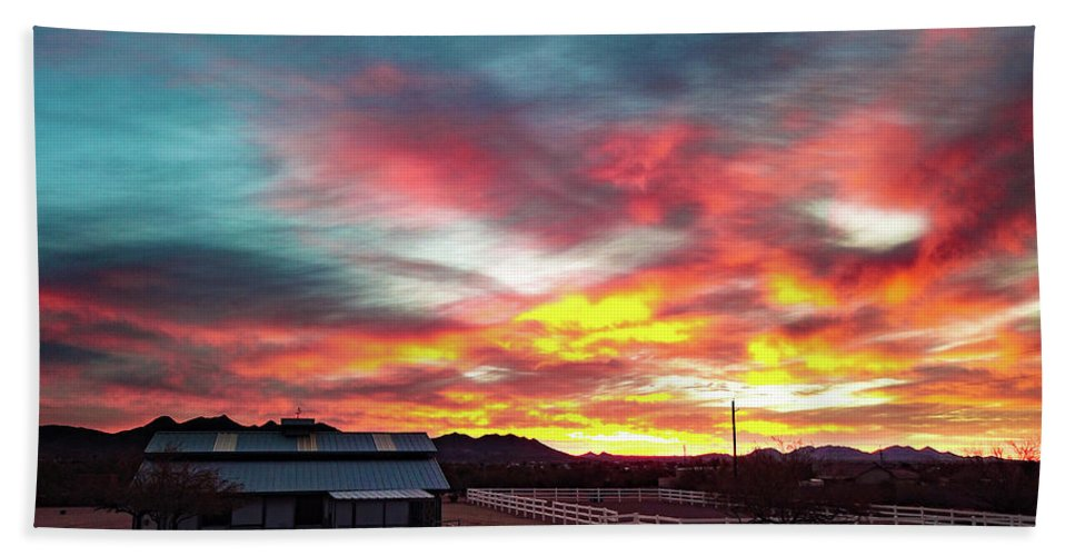 Drone Photography Hand Towel featuring the photograph Sunrise And Horse Barn by David Stevens