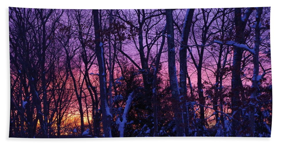 Sunrise Hand Towel featuring the photograph Sunrise And Snow by Robyn Greaves