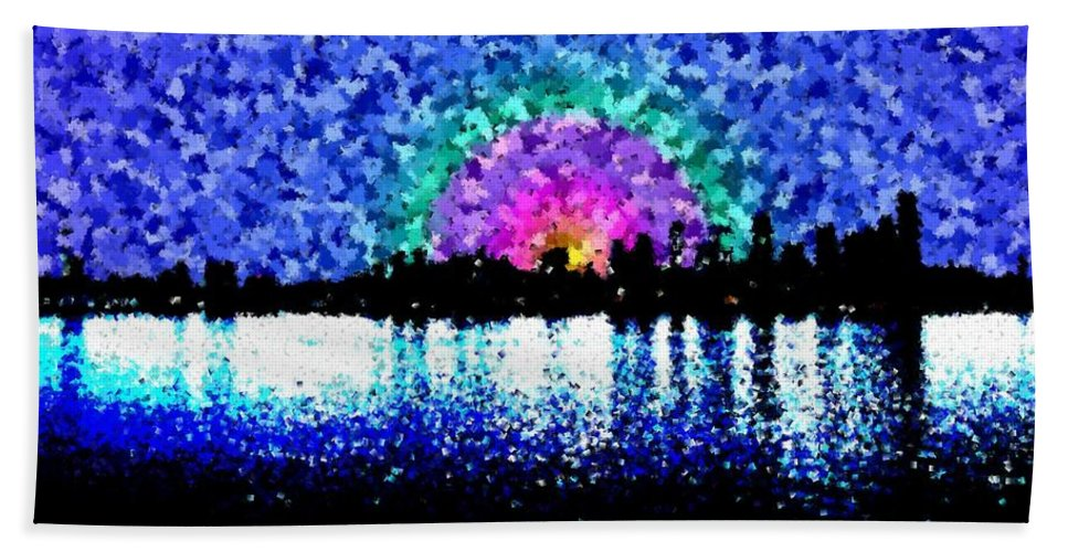 Sunrise Hand Towel featuring the digital art Sunrise And The City by Tim Allen