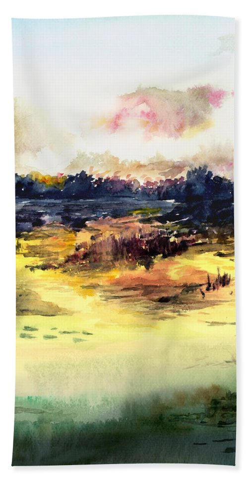 Landscape Water Color Sky Sunrise Water Watercolor Digital Mixed Media Hand Towel featuring the painting Sunrise by Anil Nene