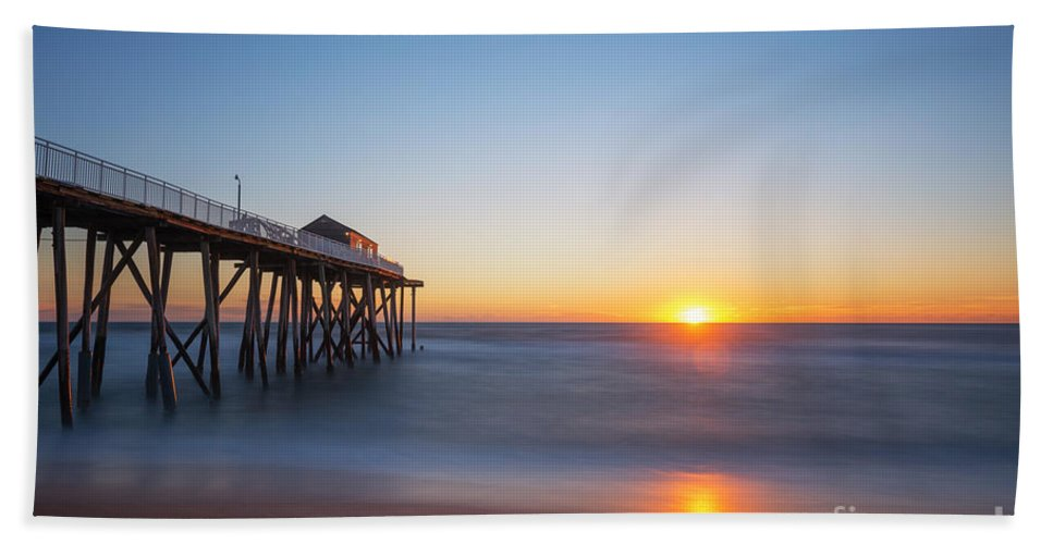 Fishing Pier Sunrise Hand Towel featuring the photograph Sunrise At Belmar New Jersey by Michael Ver Sprill