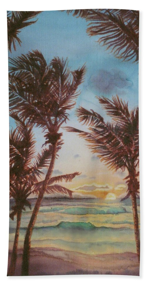 Coconut Tree Bath Sheet featuring the painting Sunrise At Cattlewash 3 by Deborah Younglao
