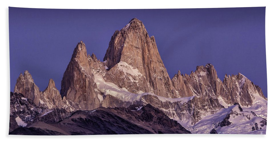 Patagonia Hand Towel featuring the photograph Sunrise At Fitz Roy Patagonia 7 by Timothy Hacker