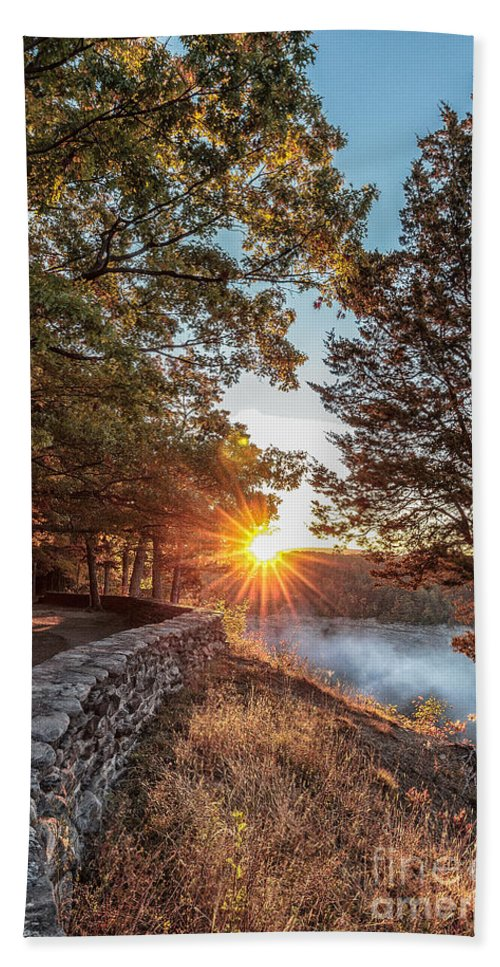 Sunrise Bath Sheet featuring the photograph Sunrise At Great Bend by Rod Best