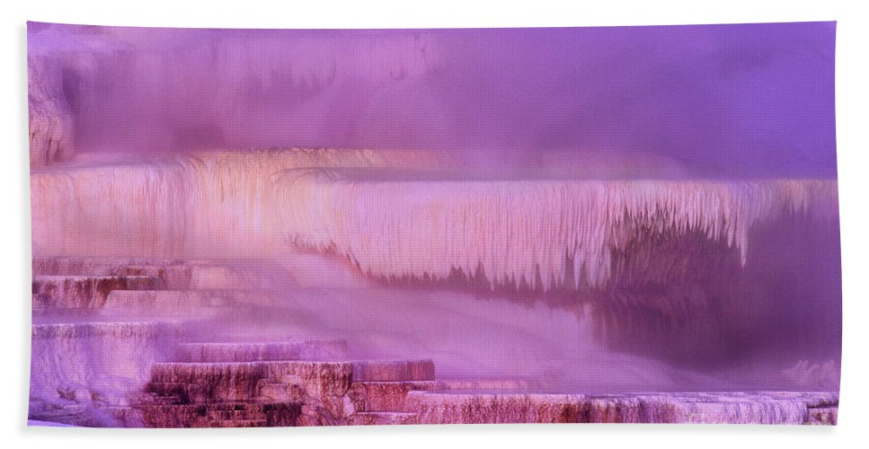 North America Hand Towel featuring the photograph Sunrise At Minerva Springs Yellowstone National Park by Dave Welling